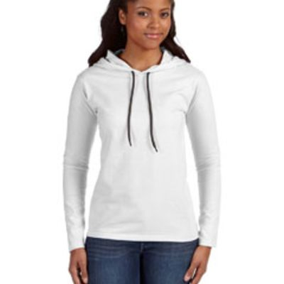 Anvil Ladies' Lightweight Long-Sleeve Hooded T-Shirt Thumbnail