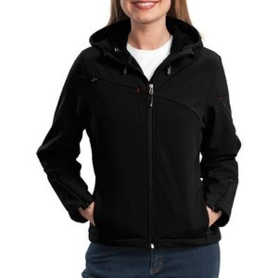 Port Authority Ladies Textured Hooded Soft Shell Jacket Thumbnail