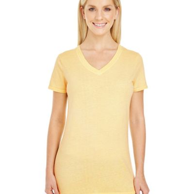 ThreadFast Apparel Ladies' Pigment-Dye Short-Sleeve V-Neck T-Shirt Thumbnail