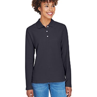 Devon& Jones Ladies' Pima Piqué Long-Sleeve Polo Thumbnail